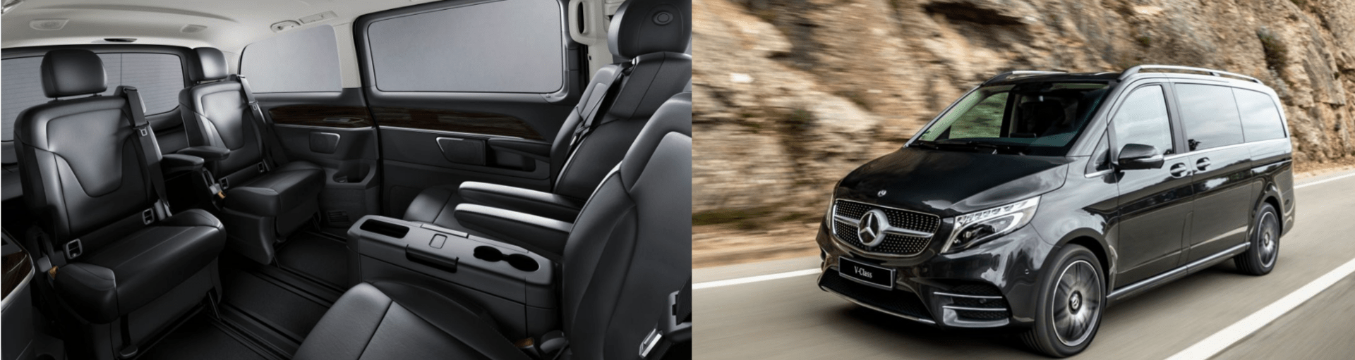 rent this mercedes v class van in black for gstaad airport transfer